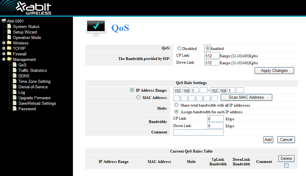 4.5 Management 4.5.1 QoS Note: If you add any QoS rules, the DoS function will have no effect. This page is used for help users configure the parameters of QoS.