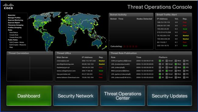Email Threat Operations Center Datos, Investigación y Protección Datos de SenderBase Threat Operations Center Updates de Seguridad Email Seguro Mejor en su clase, eficacia anti-spam La más rápida