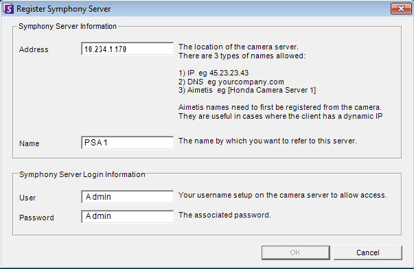 Step 5: Configure the Video Management Software (VMS) To connect to Aimetis Symphony Server: 1. In the Address field of the Register Symphony Server dialog box, enter the IP address of the E3200 PSA.