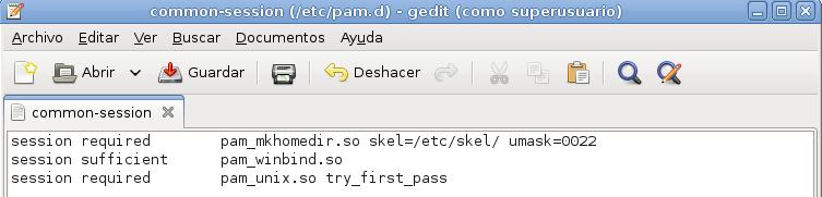 gedit /etc/pam.d/common-session NOTA: El modulo pam_winbind.