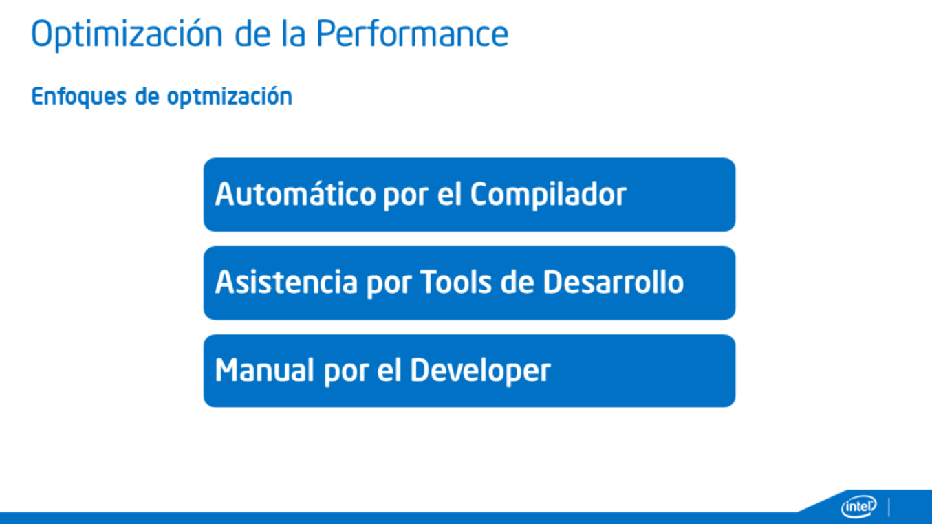tools de dev - optimizacion manual, librerias de alta performance [codigo fuente] compiler optimization En un escenario ideal el compilador es el que tiene que ser capaz de compilar y optimizar el