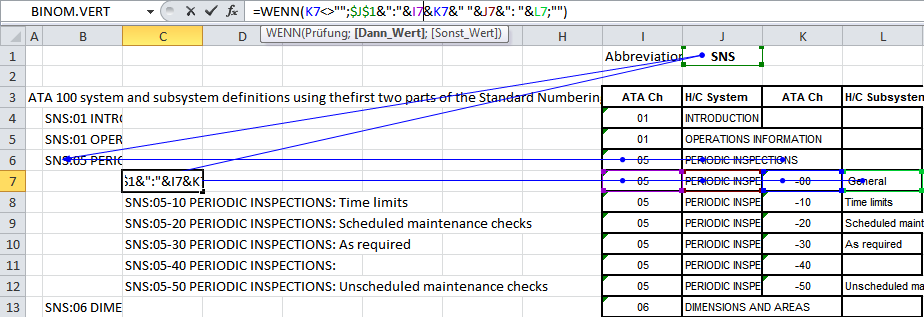 Figure 26 - Excel screenshot indicating keyword building from the tabellaric data provided by AW. Using special prefixes permits to search e.g. for 09 and to retrieve both the keyword for ATA 100 systems definitions and its sub keywords, but as well other keywords that contain 09.