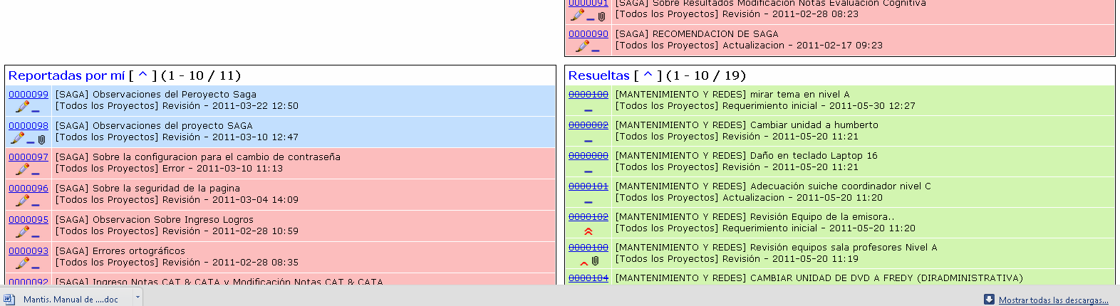 6.4.2 Reporte de incidencias en mantis Figura 16.