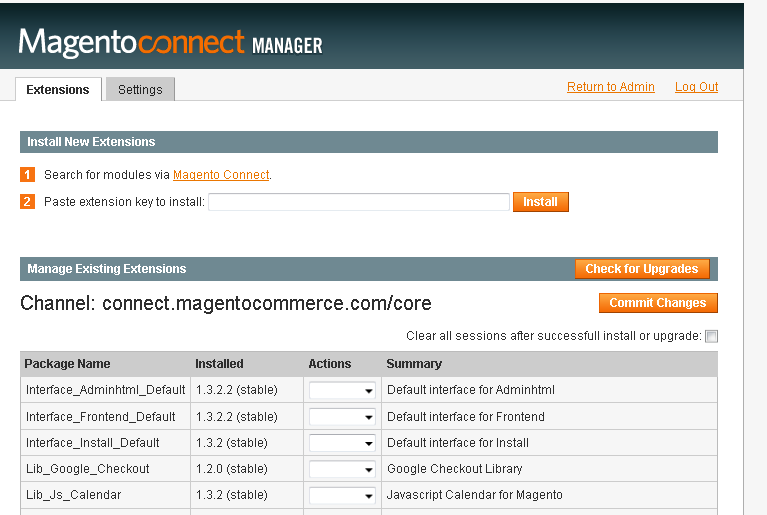 3. Magento Connect Manager.