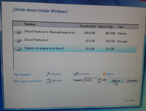 Instalación de Windows 7 Si se va a
