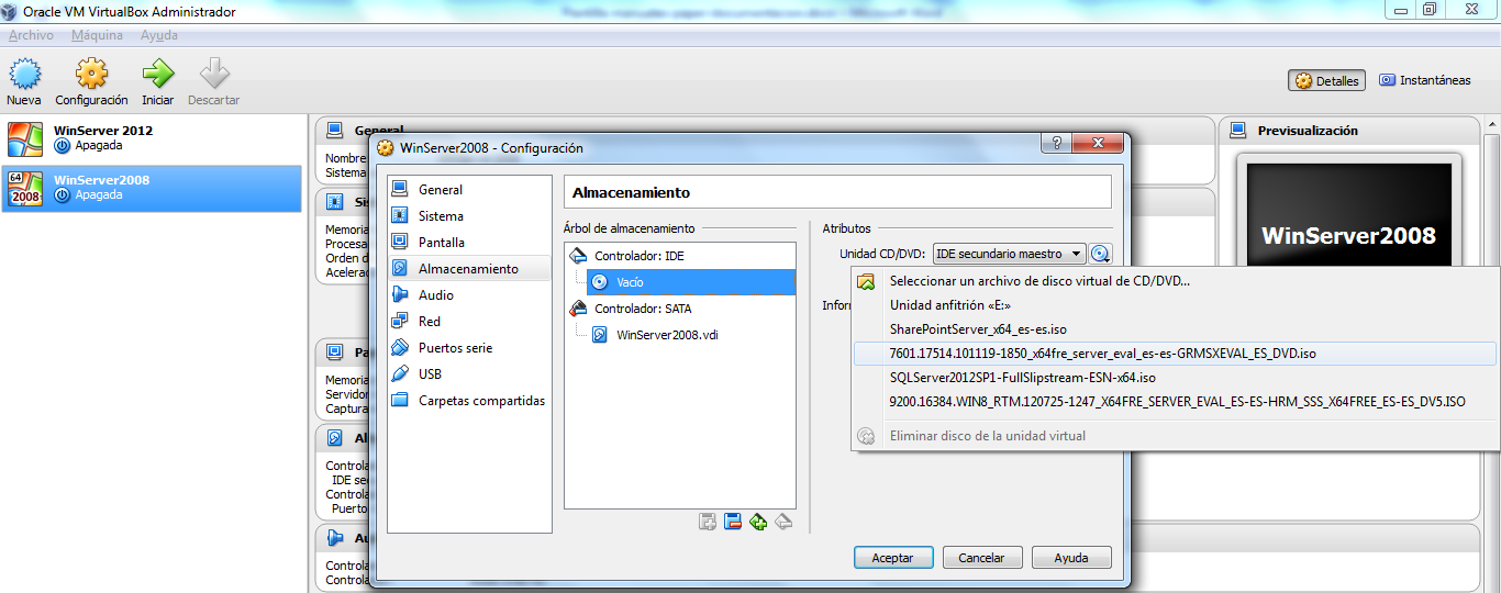 [Escriba texto] 1.1 Para Windows Server 2008. Abrir VirtualBox.