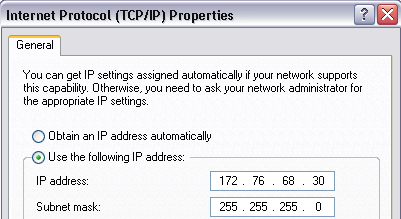Putting into Operation Connecting the R&S ZVH to a PC Identify the IP address of your PC, e.g. in the Microsoft Windows TCP/IP Properties.