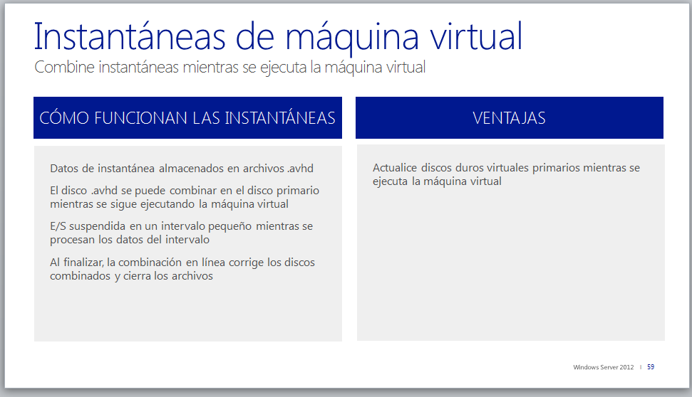 Instantáneas de máquina virtual Antes de Windows Server 2012 Las instantáneas de máquina virtual capturan el estado, los datos y la configuración de hardware de una máquina virtual en ejecución.