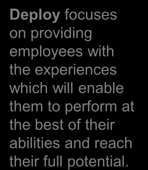 The Develop-Deploy-Connect Talent Cycle Deploy focuses on providing employees with the experiences which will enable them to perform at the best of their abilities and reach their full potential.