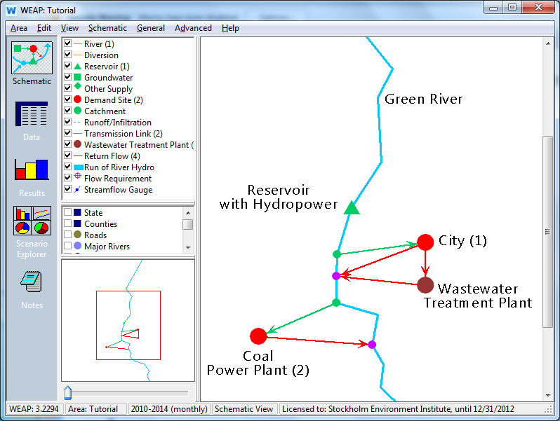 Linking WEAP and LEAP 229 Already we can see links between the water and energy systems in this model. The reservoir and coal power plant utilize water to generate electricity.