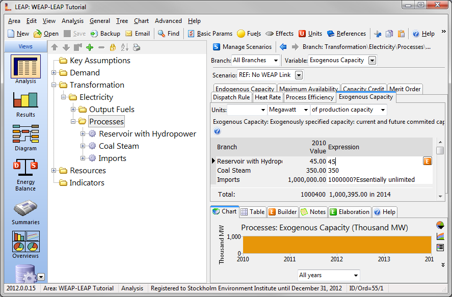 Linking WEAP and LEAP 231 reservoir, the coal steam power plant, and energy imports. If you select the Merit Order tab, you can see that hydropower is dispatched first, followed by energy from coal.