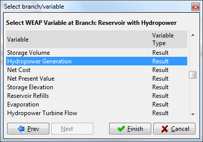 238 Linking WEAP to LEAP Use the Branch/Variable button to enter branches from WEAP: Choose the Reservoir with Hydropower branch and click Next.