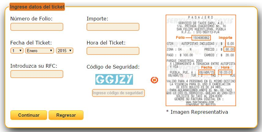 Ingresar datos del ticket.