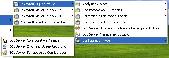 que son: SQL Server Configuration manager, SQL Server Error and Usage Reporting y SQL Server Surface Area Configuration. Figura 4.