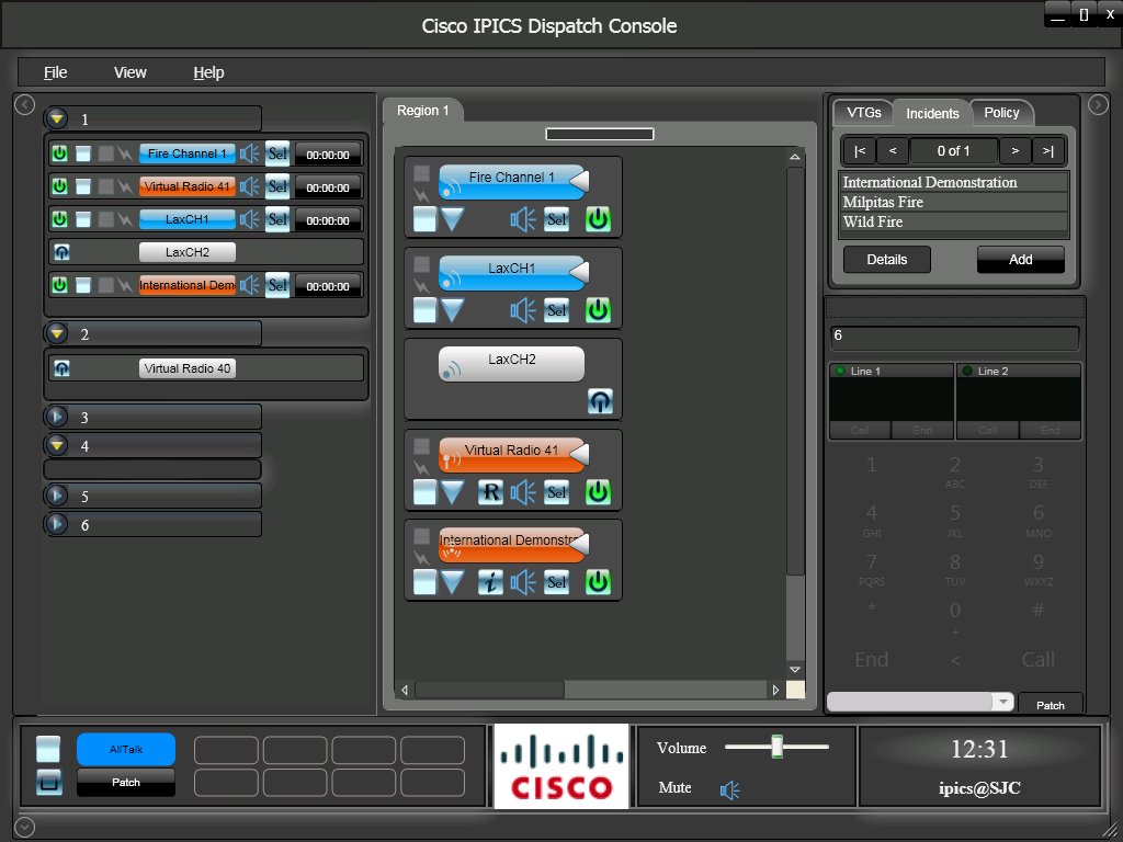 Cisco IPICS Dispatch Console (IDC) Dispatch Console for PC users Allows PC users to perform radio dispatch enabling PTT communication from office or remote locations Integrates IP-Phone for