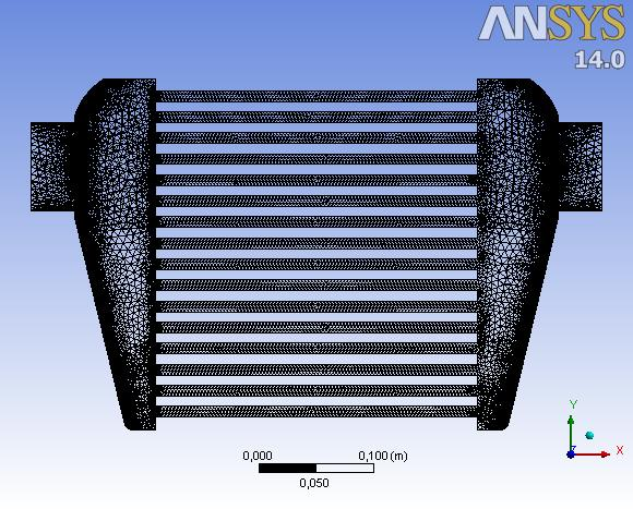 Mesh. Fig. 3. 29 Vista Frontal Mesh. Intercooler. Fig. 3. 30 Acercamiento. Vista en corte. Mesh. Intercooler. 3.7.