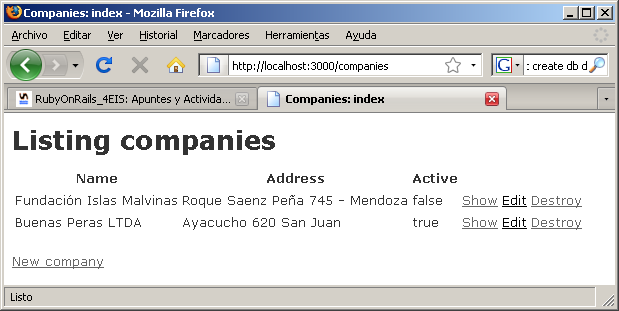 Sergio A. Alonso Rails 3 en Windows y Linux Ubuntu v 0.96 Beta pag 108/197 actualizado al 06/01/13 create test/functional/companies_controller_test.rb create app/helpers/companies_helper.