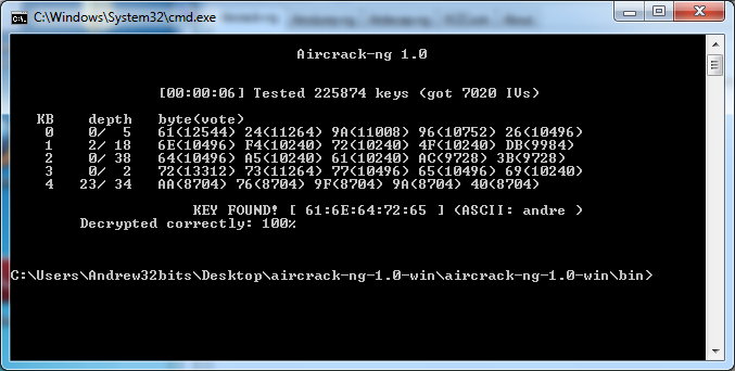 ANEXOS 4 Fuente: Software Aircrack-ng MS-DOS AP encontrados de la captura de registros.