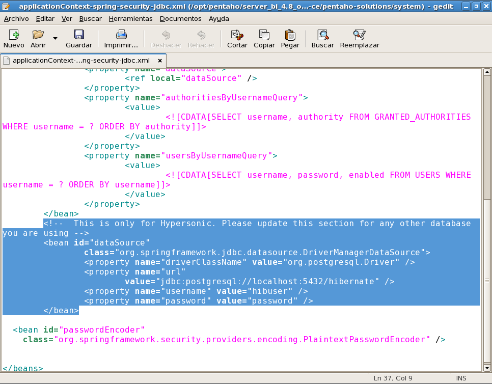 Se busca el archivo applicationcontext-spring-security-jdbc.