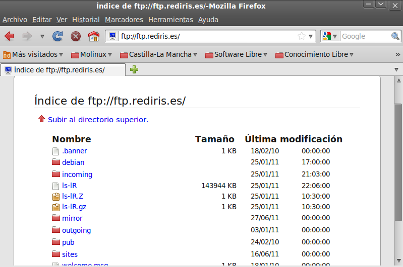 Nos conectamos a ftp.rediris.es con el usuario anonymous e intentamos subir el archivo datos1.