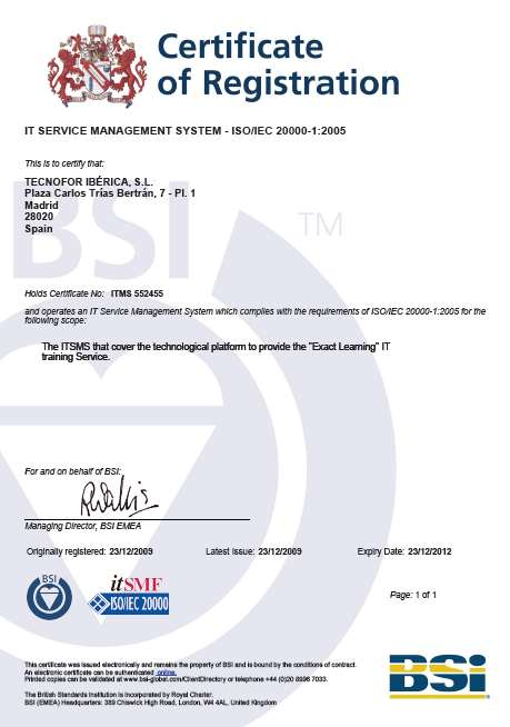 First Education company in the World to be certified in