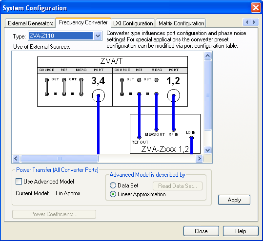 Basic Operation Connecting the Frequency Converters Fig. 3-1: Frequency Converter dialog (example: R&S ZVA-Z110) 3.