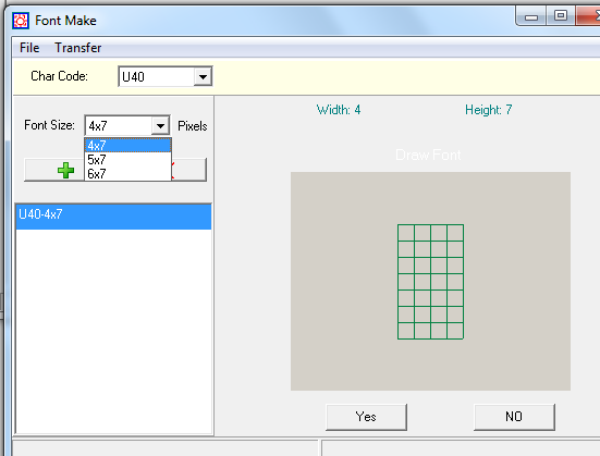 6. SOFTWARE 6.5 User font make Select the char code where you will change the character, and then select font size. Click to add the item in the list box. Then select this item to draw the font.