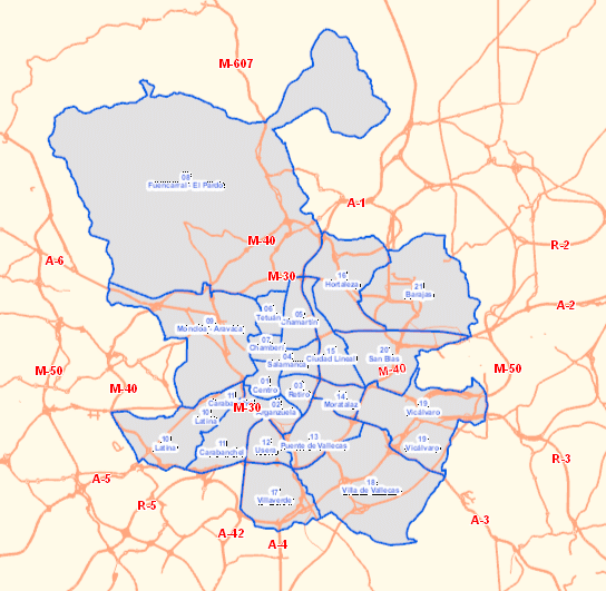 Madrid city Area: 60.430 ha. Population: 3.273.000 inhab. Heterogeneous district typologies (and within the districts): - Central area with high density (>10.000 inhab./km2) - Architectural and historic Heritage.