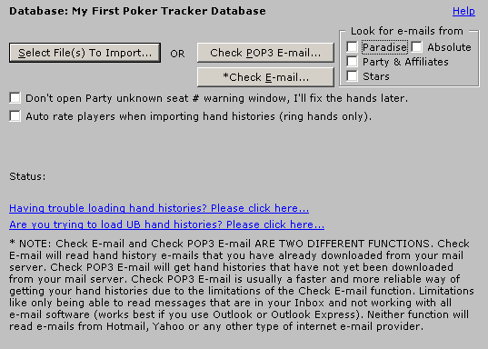 Import Hand Histories / Tournament Summaries Una vez configurado el correo pincho file en menú principal y luego Import Hand Histories/Tournamente summaries y veo que puedo elegir entre Check POP3 E-