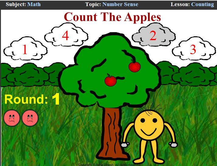 Ejemplos de dicho tipo de software son: Feed Fribbit Colors http://www.coolmath-games.com/0-feedfribbit-colors/index.html Count the Apples http://www.ezschool.com/games/counting.html 1.2.3.