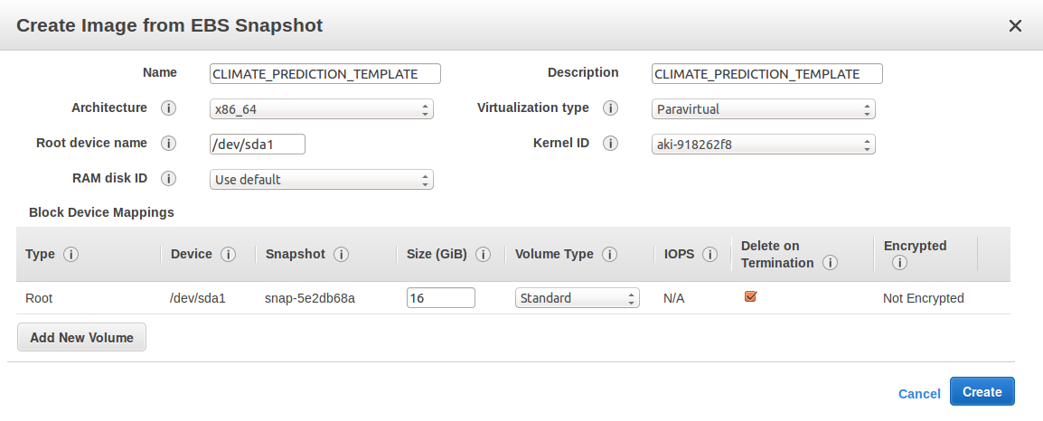 2. To finally create the Instance Image (in the AWS Dashboard) go to Images AMIs and right click on CLIMATE_PREDICTION_TEMPLATE and fill the parameters, at least name as CLIMATE_PREDICTION_TEMPLATE