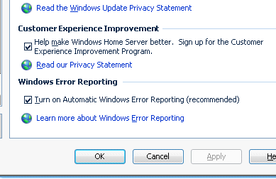 de errores de Windows NOTA: LaCie le recomienda encarecidamente que maque las opciones Customer Experience Improvement Program (Programa de mejora de la experiencia del cliente) y Windows Error