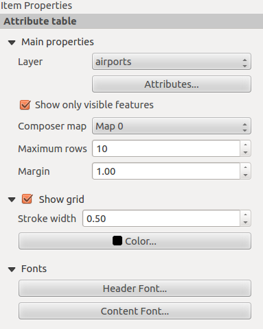 18.3.7 Add attribute table values to the Print Composer Add attribute table It is possible to add parts of a vector attribute table to the Print Composer canvas: Click the icon, place the element