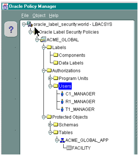 Capítulo 4: Calidad y seguridad en Oracle Oracle: Administrador de políticas Oracle Policy Manager es una herramienta de administración tanto de Oracle Label Security como de Base de datos virtual