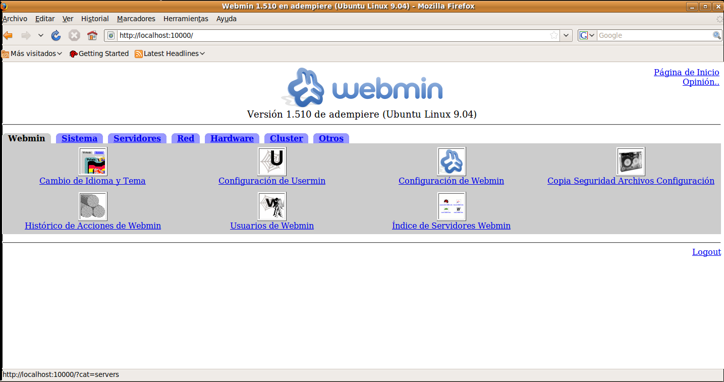 Le damos clic en webmin y en la opcion change language and theme.