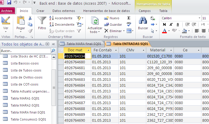 la base de datos en Microsoft Access.