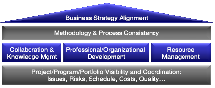 ENGLISH Business Strategy Alignment Methodology & Process Consistency Collaboration & Knowledge Mgmt Professional/Organizational Development Resource Management Project/Program/Portfolio Visibility