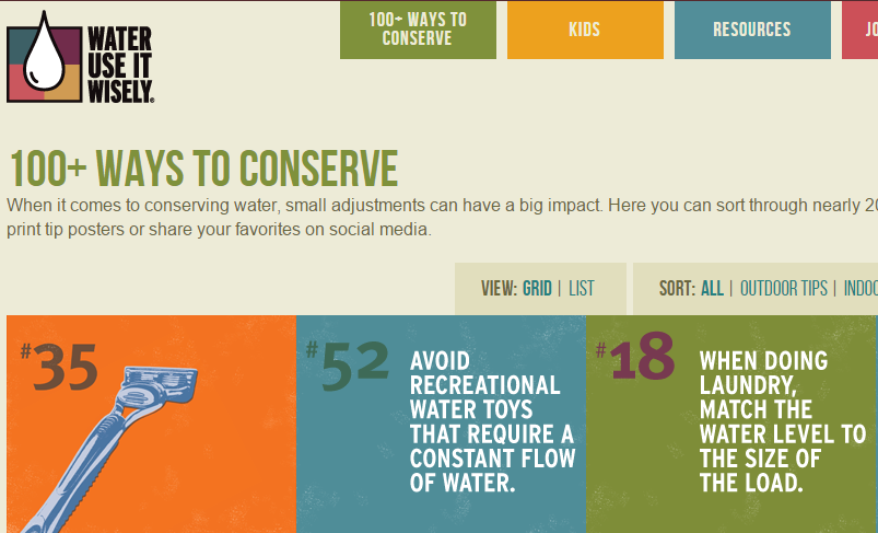 100+ Ways To Conserve - Water use it Wisely (http://wateruseitwisely.