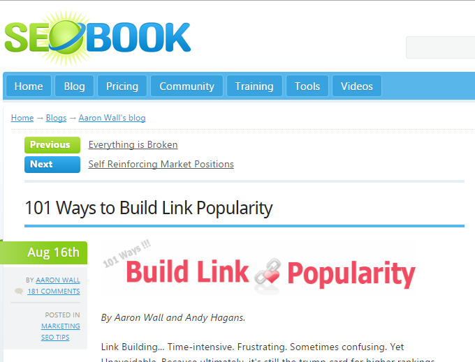 101 Ways to Build Link Popularity (http://www.seobook.com/archives/001792.