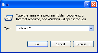ODBC CONFIGURATION 1) From Administrative Tools in Windows, open Data Sources (ODBC). The ODBC Data Source Administrator window is displayed.