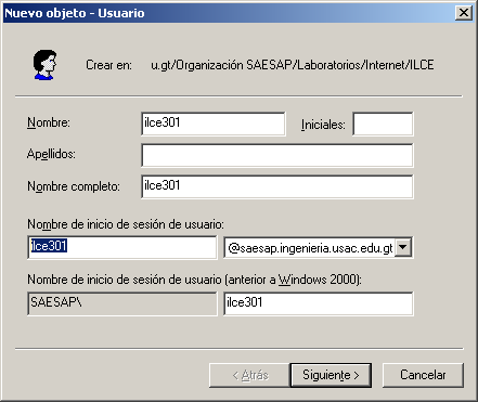 Figura 26. Creación de usuario Fuente: Microsoft Windows Server 2003 Enterprise Edition.