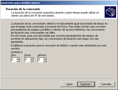 Figura 45. Exclusión de intervalo de direcciones IP Fuente: Microsoft Windows Server 2003 Enterprise Edition.