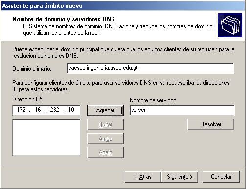 Figura 48. Nombre de dominio y servidores DNS Fuente: Microsoft Windows Server 2003 Enterprise Edition.