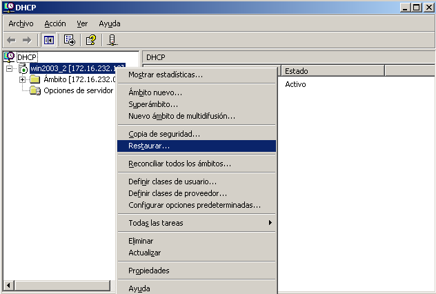 Figura 60. Ubicación y nombre de la copia de seguridad del DHCP Fuente: Microsoft Windows Server 2003 Enterprise Edition. 5.11.