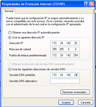 Fig. 3.19 Configuración de la IP para Windows XP.