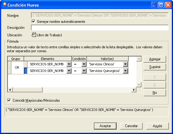 Damos doble click en AND para cambiar la condición a OR.
