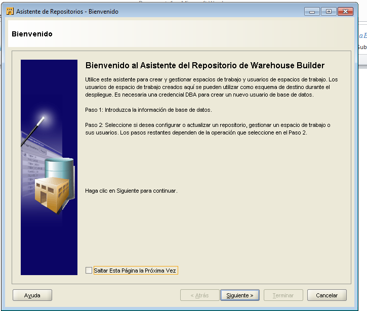 ANEXO I 21. MANUAL DE ORACLE WAREHOUSE BUILDER OWB CREAR UNA AREA DE TRABAJO - Para ello nos vamos a Inicio Oracle Warehouse Builder Administration Repository Assistant.