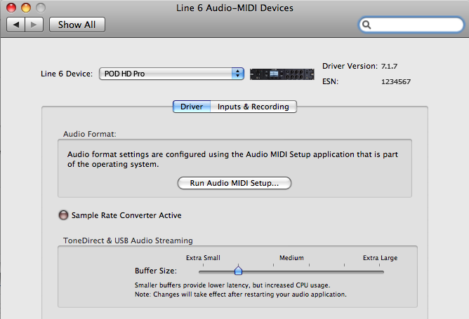 Audio USB Mac Line 6 Audio-MIDI Devices Ejecuta la utilidad Line 6 Audio-MIDI Devices desde las Preferencias del sistema de Mac. Esta utilidad proporciona acceso a varias opciones del controlador.