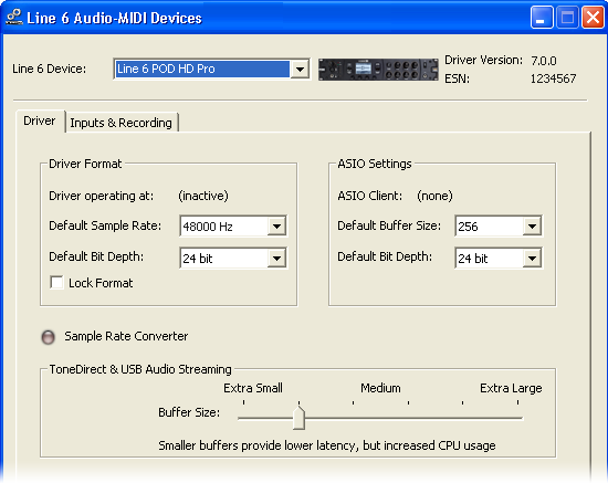 Audio USB Windows Line 6 Audio-MIDI Devices Los siguientes ajustes son los mismos para Windows XP, Windows Vista o para Windows 7, a menos que se indique lo contrario.