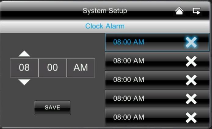 English Setting the time // alarm Enter the required time at which you want to be reminded. Press Save and press on the time in the right-hand field, appears.